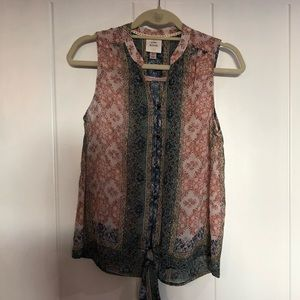 Knox Rose print tank with front tie